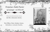 Francisco Xavier 13/5/1936 – 1/8/2016 – Família agradece a amigos e conhecidos